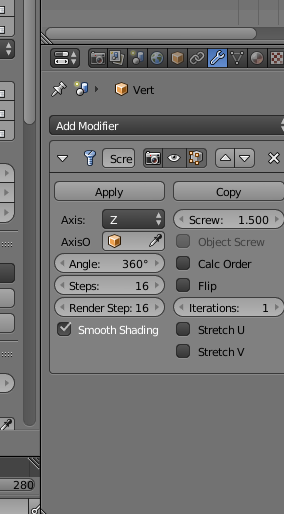6.1 screw modifier settings